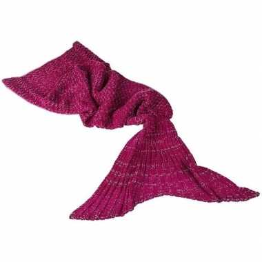 Gebreide zeemeerminnen vin donker roze 140 cmcarnavalskleding