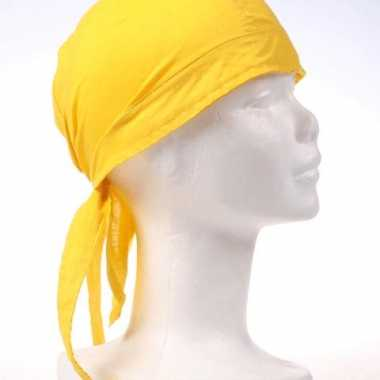 Geel kleurige bandana carnavalskleding