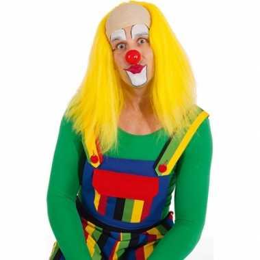 Gele clown pruikencarnavalskleding