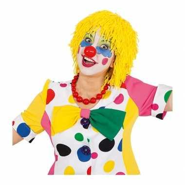 Gele clownspruik met touwtjescarnavalskleding