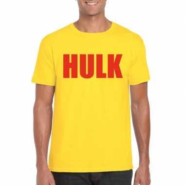 Gele hulk t-shirt met rode letters voor herencarnavalskleding
