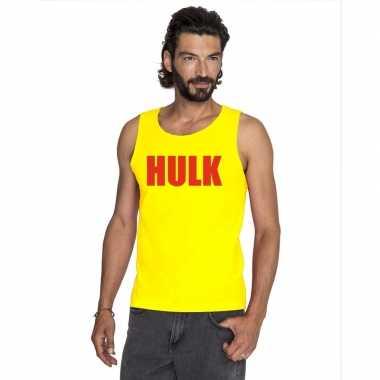 Gele hulk tanktop / hemdje met rode letters voor herencarnavalskledin