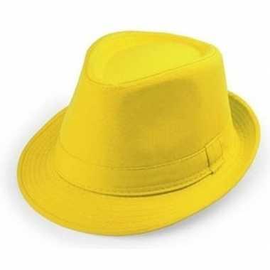 Gele trilby hoedjes voor volwassenencarnavalskleding