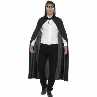 Gemaskerd bal feest zwarte cape met capuchon en luxe muzieknoten oogm