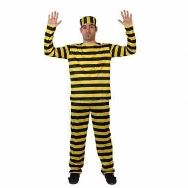 Gevangene kostuum geel met zwartcarnavalskleding