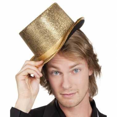Glitterende hoge hoed goud carnavalskleding