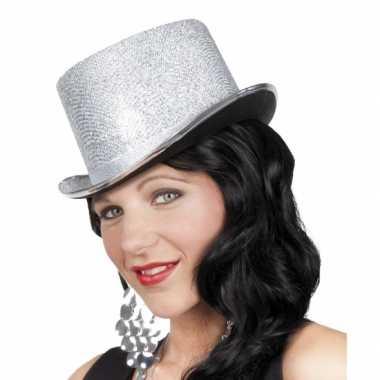 Glitterende hoge hoed zilvercarnavalskleding