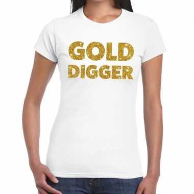 Gold digger glitter tekst t-shirt wit damescarnavalskleding