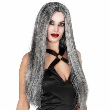 Gothic halloween heksenpruik lang grijs haarcarnavalskleding