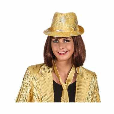 Goud glitter disco hoedje met sterrencarnavalskleding