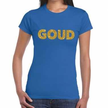 Goud glitter tekst t-shirt blauw damescarnavalskleding