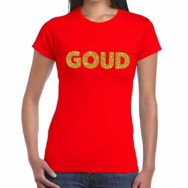 Goud tekst t-shirt rood damescarnavalskleding