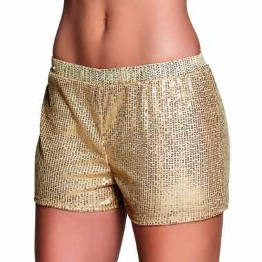 Gouden dames hotpants met pailletten carnavalskleding