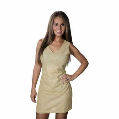 Gouden disco jurkje met glitters damescarnavalskleding