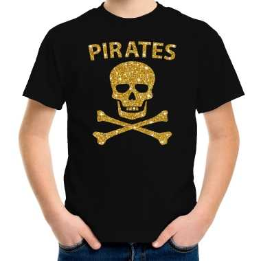 Gouden glitter carnavalskleding piraten shirt zwart kids