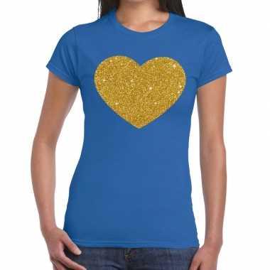 Gouden glitter hart t-shirt blauw damescarnavalskleding