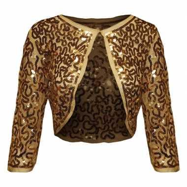 Gouden glitter pailletten disco bolero jasje damescarnavalskleding