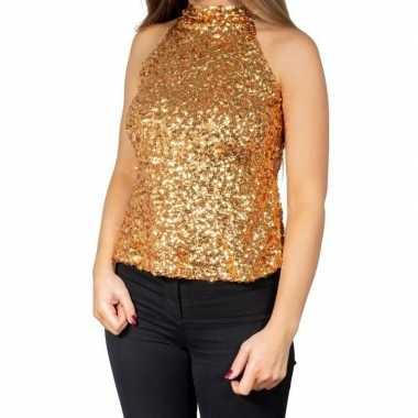 Gouden glitter pailletten disco halter topje/ shirt damescarnavalskle