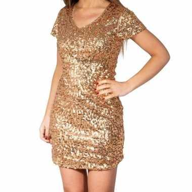 Gouden glitter pailletten disco jurkje damescarnavalskleding