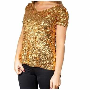 Gouden glitter pailletten disco shirt damescarnavalskleding