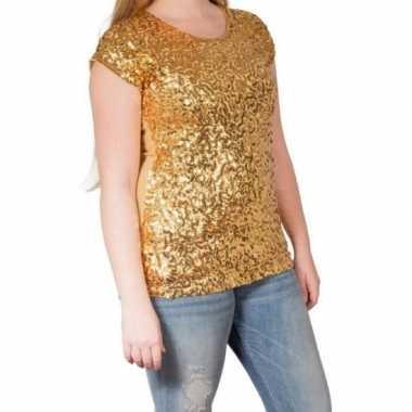 Gouden glitter pailletten disco shirt dames l/xlcarnavalskleding