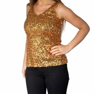 Gouden glitter pailletten disco topje/ mouwloos shirt damescarnavalsk