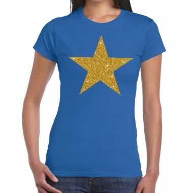 Gouden glitter ster t-shirt blauw damescarnavalskleding