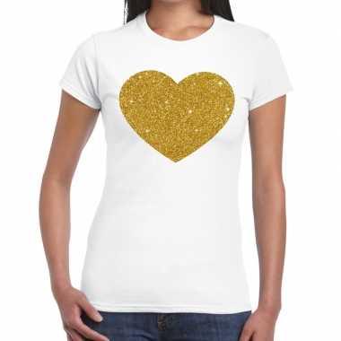 Gouden hart glitter tekst t-shirt wit damescarnavalskleding