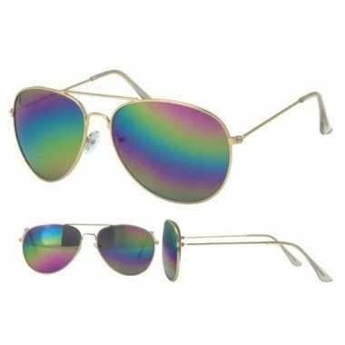 Gouden pilotenbril voor dames/herencarnavalskleding