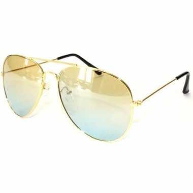 Gouden pilotenbril voor volwassenencarnavalskleding