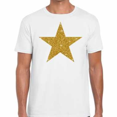 Gouden ster glitter fun t t-shirt wit herencarnavalskleding
