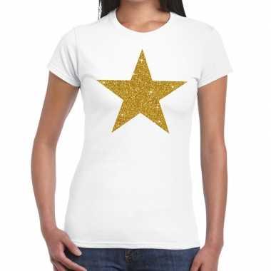 Gouden ster glitter tekst t-shirt wit damescarnavalskleding