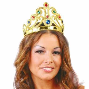 Gouden tiara met edelsteentjes voor prinsessencarnavalskleding
