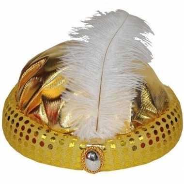 Gouden tulband met lange witte veercarnavalskleding