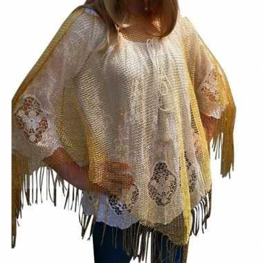 Gouden visnet poncho/ omslagdoek/ stola damescarnavalskleding