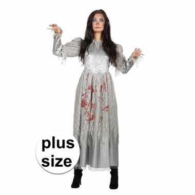 Grijze jurk grote maat met bloed voor damescarnavalskleding