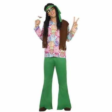Groen flower power kostuum voor herencarnavalskleding