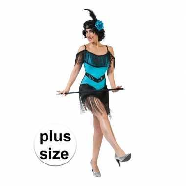 Grote maat blauw/zwart jaren 20 jurkje voor damescarnavalskleding