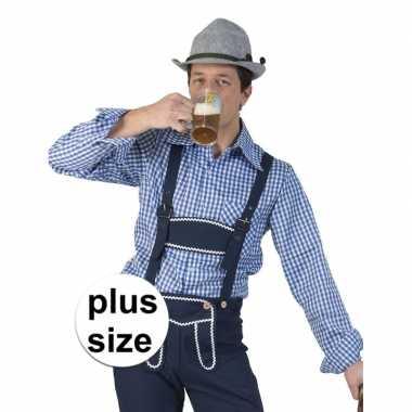 Grote maat carnavalskleding blauw/witte overhemd voor heren