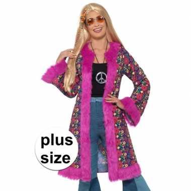 Grote maat hippie peace pluche jas voor damescarnavalskleding