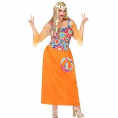 Grote maat oranje flower power jurk voor damescarnavalskleding