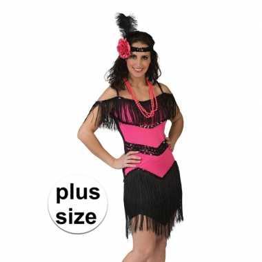 Grote maat roze/zwart jaren 20 jurkje voor damescarnavalskleding