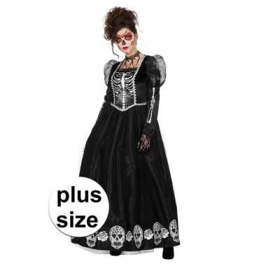 Grote maat zwarte jurk met schedels voor damescarnavalskleding