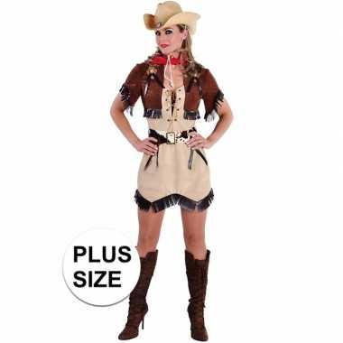 Carnavalskleding Grote Maten Dames.Grote Maten Beige Cowgirl Jurk Met Bolero Voor Damescarnavalskleding