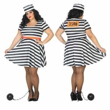 Grote maten carnaval/feest boeven/gevangenen bonnie verkleedoutfit ju