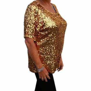 Grote maten gouden glitter pailletten disco shirt dames xlcarnavalskl