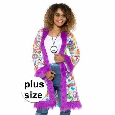 Grote maten hippie groovy pluche jas voor damescarnavalskleding