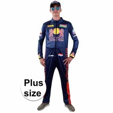 Grote maten race coureur verkleed kostuum voor herencarnavalskleding