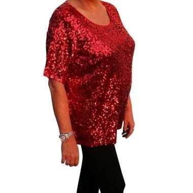Grote maten rode glitter pailletten disco shirt dames xlcarnavalskled