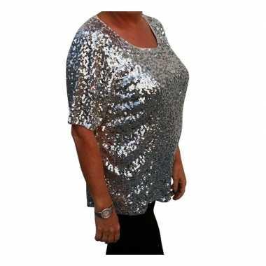Grote maten zilveren glitter pailletten disco shirt dames xlcarnavals